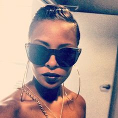 Eva Pigford (evamarcille)   Fashion & Beauty Photos on Pose  Versace sunglasses, Frugal Finds Necklace and yes those Luscious Lips http://pose.com/p/35npc