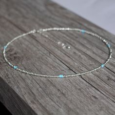 Silver and Turquoise Beaded Choker // Adjustable Silver Wire Necklace with Dainty Seed Beads
