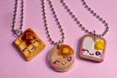 Items similar to Best Friends Necklaces - BFF Breakfast Necklace - Waffle Pancake Toast Kawaii Cute Charms on Etsy Bff Necklaces, Best Friend Necklaces, Best Friend Jewelry, Friendship Necklaces, Cute Necklace, Best Friend Gifts, Onyx Necklace, Bracelets, Cute Polymer Clay