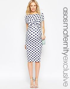ASOS Maternity Body-Conscious Dress In Polka Dot With Cross Front