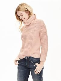 Mixed-Stitch Turtleneck Sweater