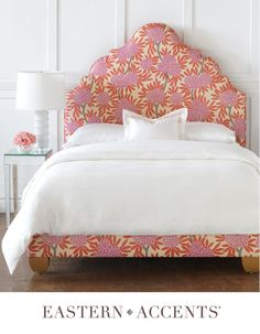 Our custom workroom upholstered our Antoinette bed with the whimsical COM, making a breathless finished look.