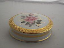Large French Limoges Trinket Box w Lid White w Pink Roses & Leaf Decor on Lid