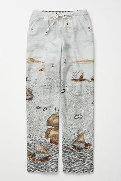 YASMEEN: further example of wide leg print pajama pants.  I like the muted colors and how the pattern subtley gets denser and darker toward the hem of the pants - but the boat pattern is too recognizable.  It could pull focus and might make the audience think we are trying to evoke an image or theme that we do not intend to.   Land Ahoy Loungers #anthropologie