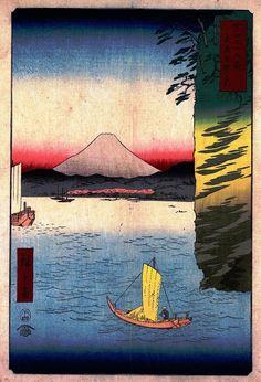 Hiroshige - Thirty-six Views of Mount Fuji 1856 Series 16 Cherry Blossoms at Honmoku in Musashi Province神奈川県横浜市中区本牧 Honmoku, Naka-ku, Yokohama-shi, Kanagawa-ken