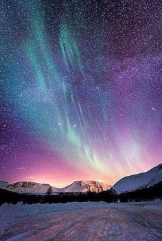 Image via We Heart It https://weheartit.com/entry/147563769 #mountains #nature #nightsky #northernlights #photography #scenery #snow #winter