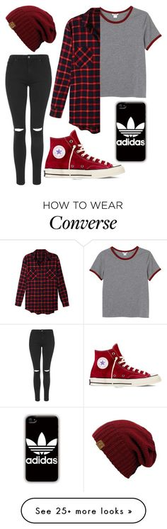 """Untitled #1"" by destinymaee-1 on Polyvore featuring Monki, LE3NO, Topshop, Converse and adidas"