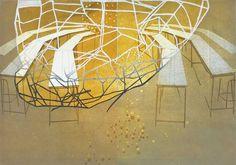 Katherine Jones - Conversation Piece | 2014 | collagraph and block-print on paper | 83 x 59cm