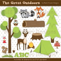 Camping Great Outdoors Woodland Creatures Clip Art Digital Scrapbook Pack Elements.