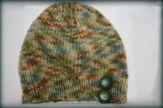 Natural multi colored knit hat with Vintage by MadeForYouCrafts, $15.00