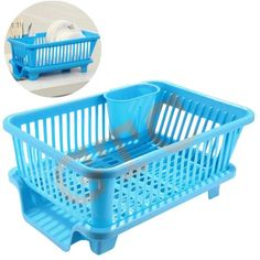 White Cloud 3 in 1 Large Sink Set Dish Rack Drainer Multi-Function Creative Dish Racks Washing Holder Basket Organizer with Tray for Kitchen - Blue (IT N - Kitchen Sink Organization, Kitchen Storage Containers, Basket Organization, Storage Baskets, Storage Shelves, Washing Basket, Plastic Laundry Basket, Kitchen Dish Drainers, Plate Storage