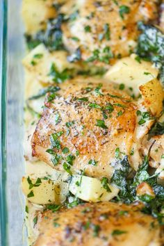 Crisp-tender chicken baked to absolute perfection with potatoes and spinach. A complete meal in one!!