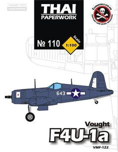 WWII Chance Vought F4U-1a Corsair VMF-122 Free Aircraft Paper Model Download