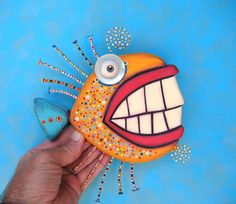 Smiling Goldfish Found Object Wall Sculpture Wood by FigJamStudio