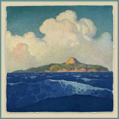 N. C. (Newell Convers) Wyeth (1882-1945) - The Mysterious Island. Woodblock Print. Circa 1918.
