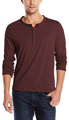 $11, Rogue State Long Sleeve Raw Edge Henley. Sold by Amazon.com. Click for more info: http://lookastic.com/men/shop_items/98761/redirect