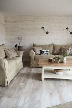Living room renovation with wall panels made of real wood. Wooden Wall Panels, Wood Wall, Wooden Diy, Real Wood, Room Inspiration, Rustic Decor, Indoor, Couch, Living Room