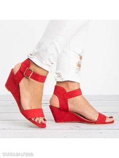 071d3426cb04 Plain High Heeled Velvet Ankle Strap Peep Toe Date Wedge Sandals -  berrylook.com Red