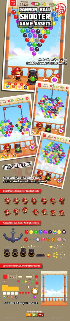 Buy Cannon Ball Shooter Game Assets by kemotaku on GraphicRiver. Cannon Ball Shooter game assets for bubble shooter puzzle game. The game concept is shooting balls from pirate can. Bubble Shooter Games, Bubble Games, Kit Games, Match 3 Games, Ipad, Stick Man, Game Design, Deck Design, Android