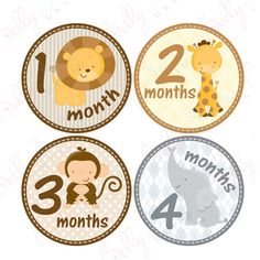 Neutral Monthly Baby Stickers, 1 to 12 Months, Monthly Bodysuit Stickers, Baby Age Stickers, Jungle Babies (061-1)