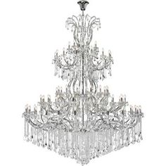 Swarovski Crystal. A heavenly high point to your home, Maria Theresa collection pendant lamps are ablaze with hundreds of resplendent crystals. Copious strands of sparkling clear or crystals dangle from elaborate tiers of glass-coated steel arms in chrome finish. An imperial favorite for the stairwell, dining room, or living room#furniture#livingroomfurniture#homeinterior#homedecor#chandelier#affiliate Luxury Chandelier, Chandelier Lighting, Chandeliers, Maria Theresa, Candelabra Bulbs, Chrome Finish, Clear Crystal, Glass Shades, Light Fixtures