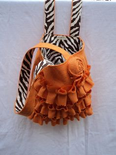 Purse with Ruffles Burlap Purse Burlap Tote in by theruffleddaisy, $52.00