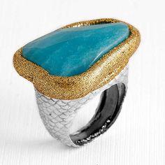 #Anillo de #plata con #cuarzo tratado en azul