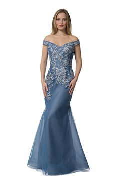 Style 4337 - Liancarlo Evening Dress- 'Bouquet' embroidered tulle off-the-shoulder fit and flare gown in slate blue Dark Purple Prom Dresses, Formal Dresses, Wedding Dresses, Bride Dresses, Long Dresses, Mother Of The Bride Gown, Mother Of Groom Dresses, Mother Bride, Blue Evening Gowns