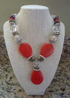 Orange Statement Necklace Chunky Beige Silver Bronze Gold beaded necklace on Etsy, $54.50