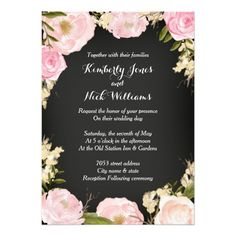 Pretty Floral Wreath Chalkboard Wedding Invite