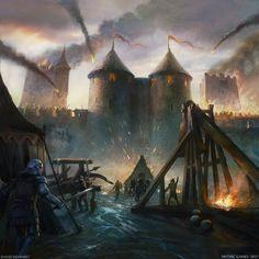 Siege by David Demaret Dark Fantasy Art, Fantasy Battle, Fantasy Concept Art, High Fantasy, Medieval Fantasy, Fantasy Artwork, Fantasy World, Medieval Tattoo, Tattoo Foto