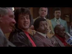 During a press conference with Apollo and Rocky, Apollo talks trash while Rocky (Sylvester Stallone) makes jokes. CAST: Burgess Meredith, Burt Young, Carl We. Rocky Sylvester Stallone, Burt Young, Rocky Film, Apollo Creed, Carl Weathers, Champions Of The World, Rocky Balboa, Al Pacino, The Expendables