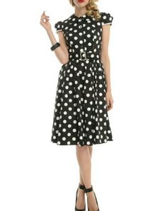 4ca565657b Black And White Polka Dot Cap Sleeve Dress ( 47.60-59.50) - Hot Topic