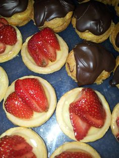 Strawberry tartlets and chocolate profiteroles.