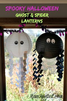 Spooky Halloween Ghost & Spider Lanterns #FunCraftsWithMom