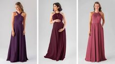Jewel toned bridesmaids | Want a moody palette? Check out Elena in Eggplant, Lacey in Bordeaux, and Erica in Rosewood. This rich color scheme is gorgeous and perfect for a lates summer through fall wedding | maternity bridesmaid dresses Pregnant Bridesmaid, Maternity Bridesmaid Dresses, Blush Pink Bridesmaid Dresses, Blush Pink Wedding Dress, Bridesmaid Dress Styles, Blush Pink Weddings, Blue Bridesmaids, Perfect Wedding Dress, Wedding Dresses