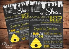 Bumble Bee - Bumble of Joy - What will it BEE - Gender Reveal Baby Shower Invitation - Digital