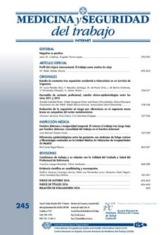 nº 245 de la Revista Medicina y Seguridad del Trabajo