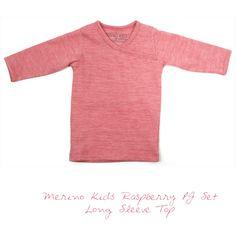 Merino Kids Raspberry Pyjama Set - Long Sleeve Top