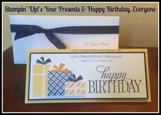 Stampin' Up! Your Presents and Happy Birthday Everyone combine for a fabulous Gift Check/Card/Certificate holder created with the Envelope Punch Board! Details and Supplies are all posted on my blog here: http://stampininthesand.blogspot.com/2015/09/your-presents-birthday-gift-card.html #stampinup, #yourpresents, #happybirthdayeveryone, #envelopepunchboard, #giftcardholder, #stampininthesand