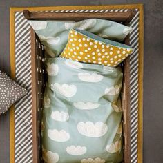 Ferm Living Clouds (Mint) Bedding awww how cute - i love he pastel colors Mint Bedding, Baby Bedding, Nursery Bedding, Ideas Habitaciones, Clouds Nursery, Deco Kids, Nursery Inspiration, Color Inspiration, Kid Spaces
