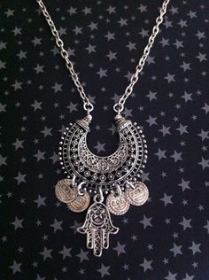 Hamsa Hand Necklace Antique Silver Coins Moon by RedGypsyJewelry