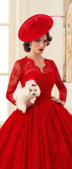 Tatiana Kaplun Bridal Haute Couture Collection For 2014 Red Fashion, Fashion Beauty, Vintage Fashion, Frock Fashion, High Fashion, Vestidos Vintage, Vintage Dresses, Robes Glamour, Pin Up Vintage