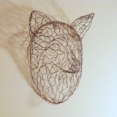 Fox Head Wall Sculpture Wire Hand Twisted by Ruth by sparkflight, $250.00