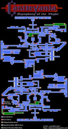 Map of Castlevania: Symphony of the Night #Castlevania #SotN #ClassicGames #GameDesign