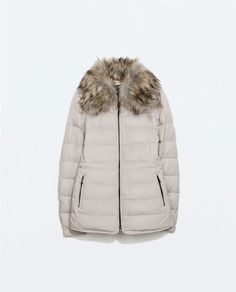 FITTED DOWN JACKET WITH FUR COLLAR from Zara