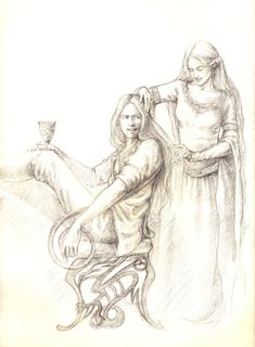Sit straight, ninny by tuuliky.deviantart.com Galadriel doing her brother's hair. Cute!