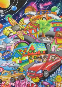 'Joyful Wing Safety Car' by Kuan Yee Wen, Aged Malaysia: Contest, Bronze School Art Projects, Art School, Painting For Kids, Art For Kids, Composition Art, Poster Drawing, Hidden Pictures, Dream City, Art Drawings