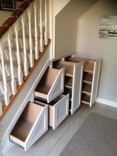 32 Nice Understairs Storage Design Ideas - When home owners think about updating their stairs and hallway, they tend to focus only on tasks such as replacing the stair balustrade, handrails, sp. Staircase Storage, Hallway Storage, Basement Storage, Attic Storage, Staircase Design, Office Storage, Bedroom Storage, Shoe Storage Under Stairs, Shelves Under Stairs