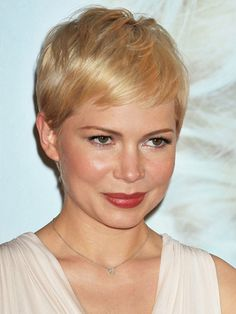 Cropped   School-girl pixie cuts are an ideal match for women with petite features, like Michelle Williams. To score this non-saccharine, sexy look, use a coral lipstick and bronze-y blush.      Read more: Best Short Hairstyles - Latest Short Haircuts - Real Beauty